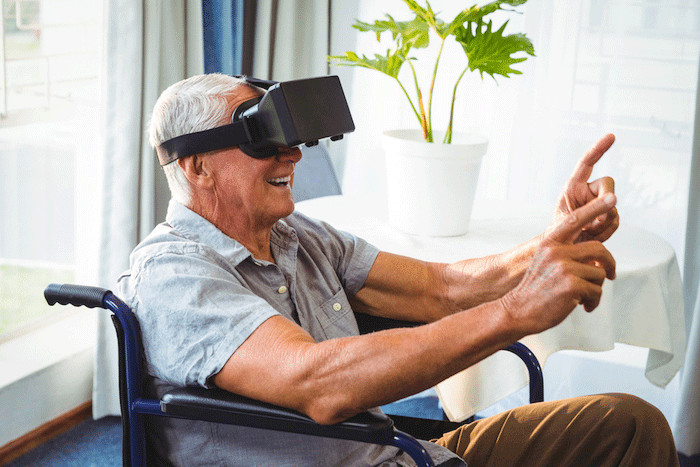 Older person using Virtual Reality